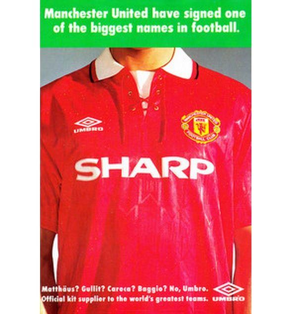 Locandina adv Umbro Manchester United 1992-1993