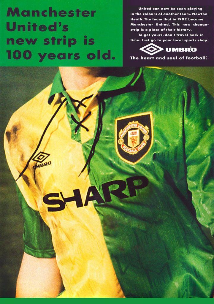 La maglia del Manchester United gialloverde nel 1992-1994