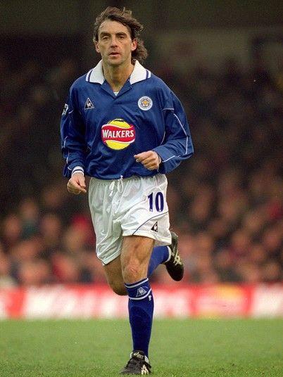 Mancini con la maglia del Leicester City