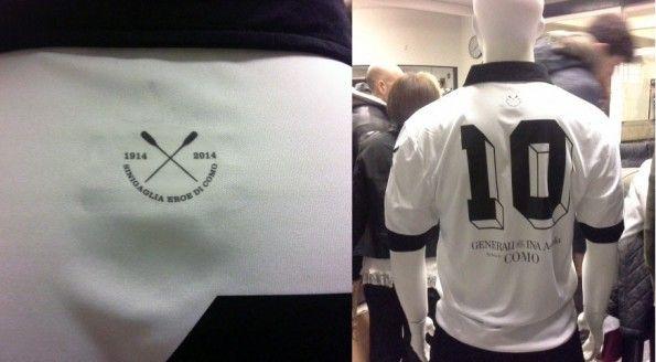 Dettagli maglia celebrativa Como Calcio per Sinigaglia