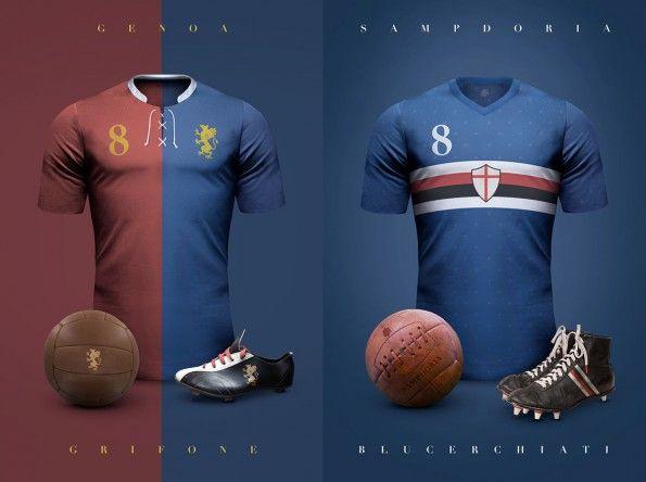 Maglie vintage Genoa e Sampdoria di Emilio Sansolini