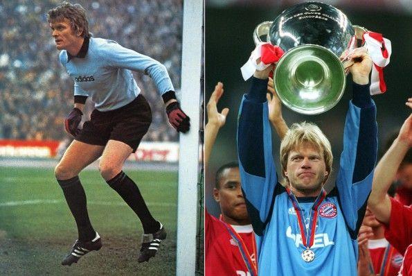 Sepp Maier e Oliver Kahn con la maglia del Bayern Monaco