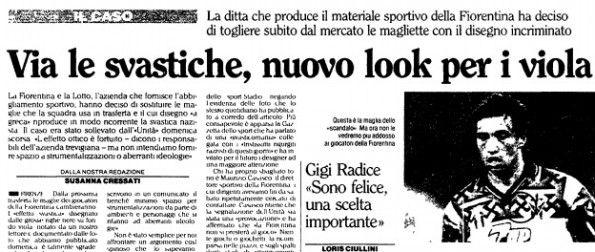 Articolo L'Unità, maglia Fiorentina svastiche