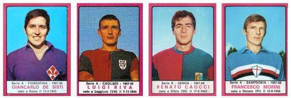 Fiorentina, Cagliari, Genoa e Samp con gli stemmi sulla maglia, album Calciatori 1967-68
