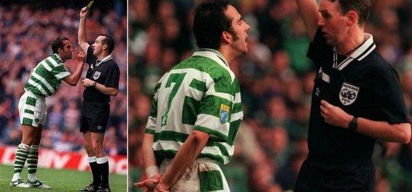 Di Canio protesta contro l'arbitro ai tempi del Celtic