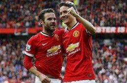Herrera e Mata festeggiano dopo un gol