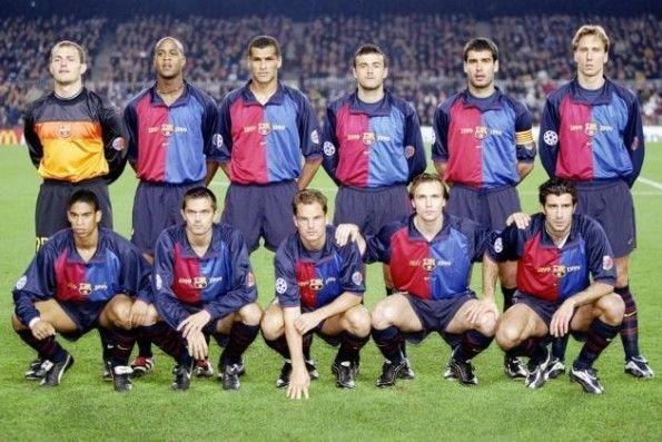 Il Barça con la divisa del centenario nel 1999