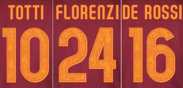 Font nomi numeri AS Roma 2015-2016