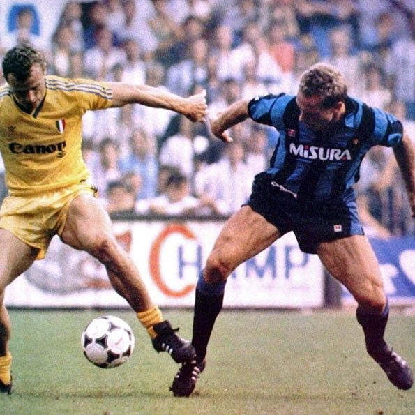 Inter vs Verona, Serie A 1985-1986. Hans-Peter Briegel e Karl-Heinz Rummenigge