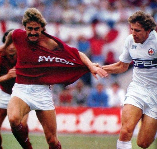 Torino vs Fiorentina, Serie A 1985-1986. Walter Schachner e Renzo Contratto