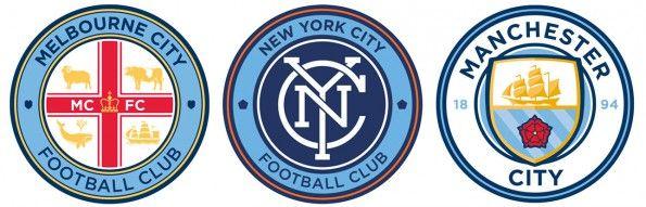 Gli stemmi delle squadre del City Football Group