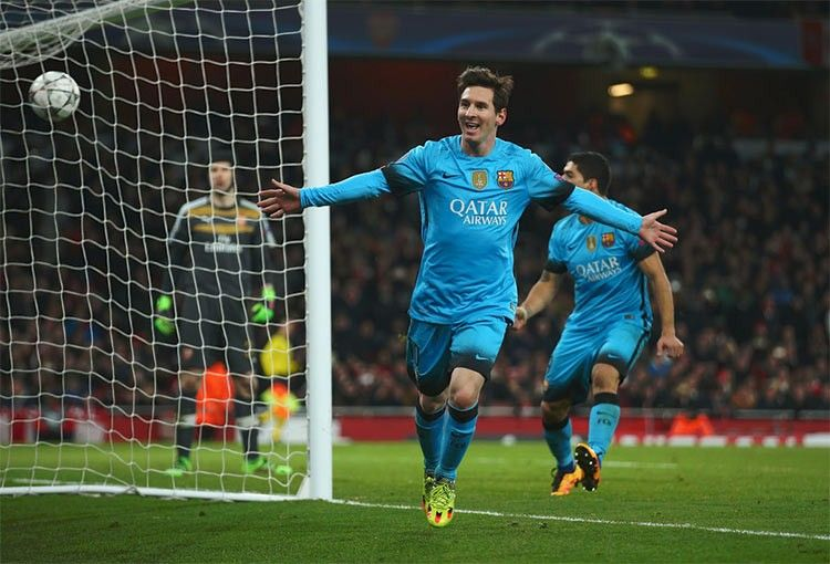 Messi in Arsenal-Barcellona Champions League