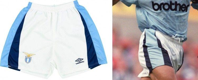 Pantaloncini Umbro per Lazio e Manchester City 1995-97