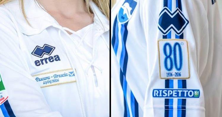 Dettagli divisa Pescara Calcio 80 anni