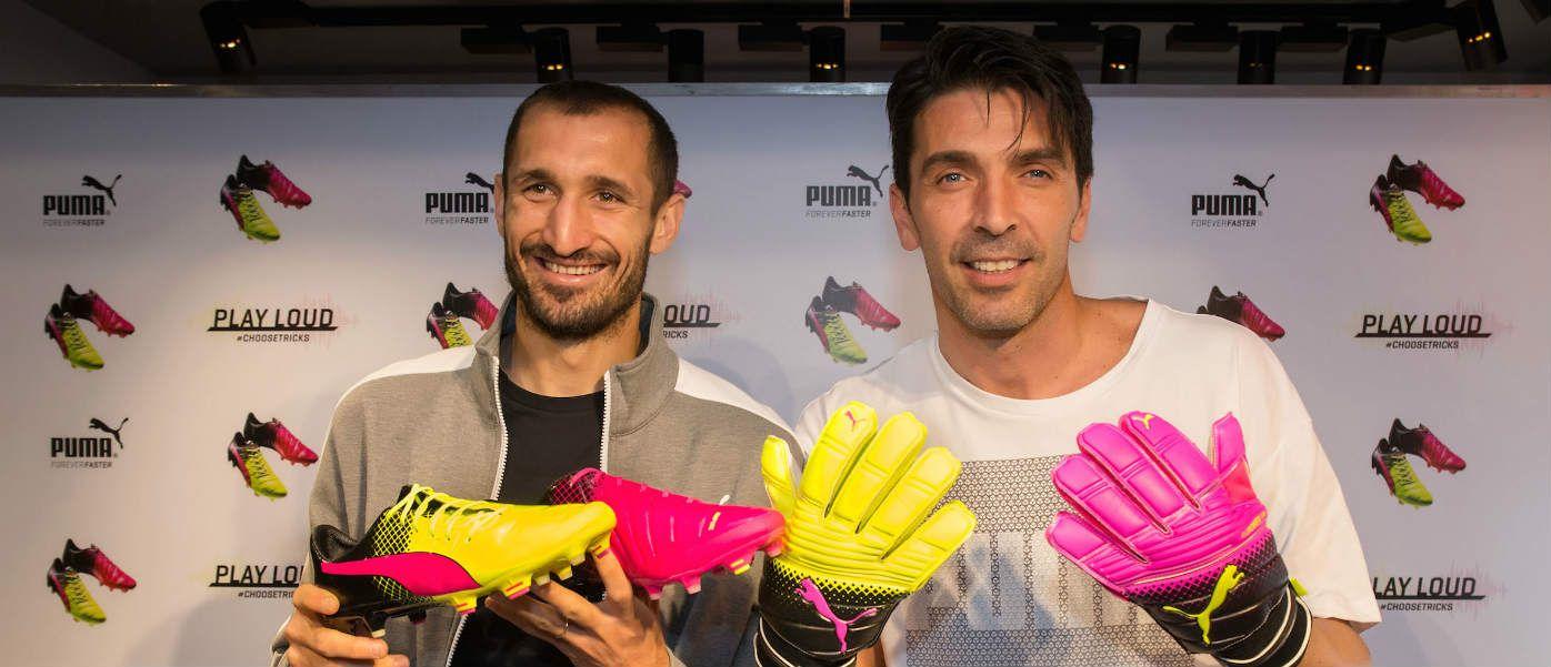 Buffon e Chiellini a Firenze per la collezione evoPower Tricks