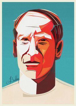 Ritratto Bobby Charlton Mondiali Inghilterra
