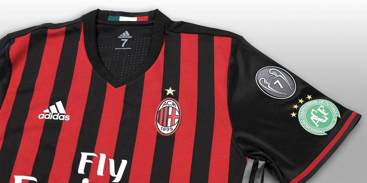 Maglia Milan logo Chapecoense manica