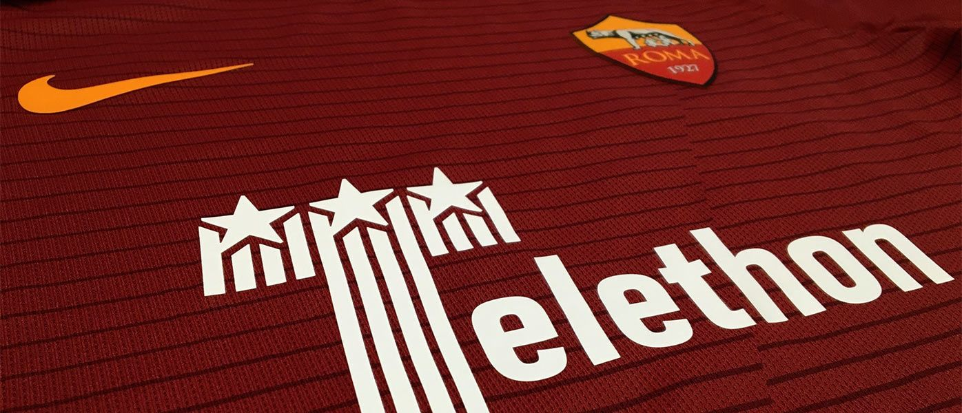 Logo Telethon maglia Roma-Juventus