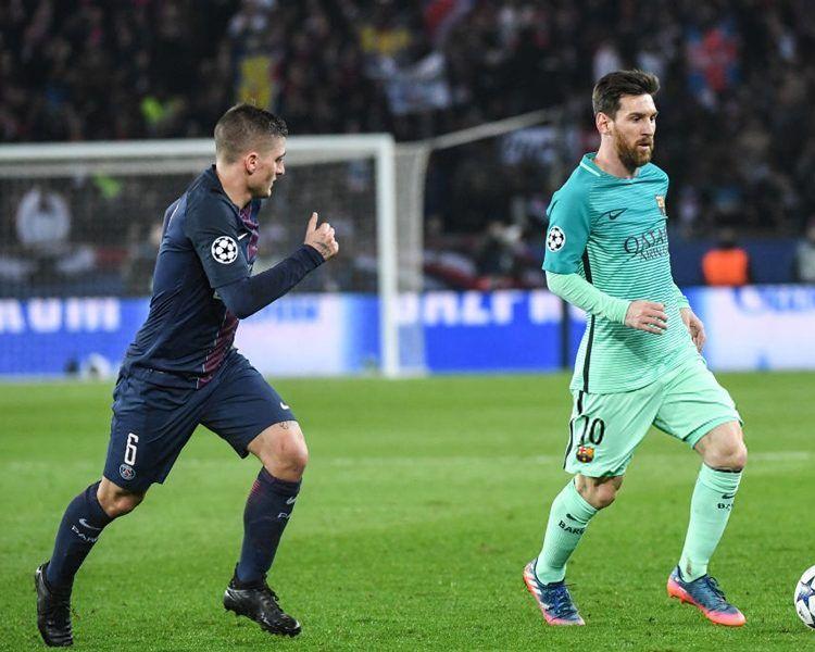 Verratti con le evoTouch nere in PSG-Barcellona