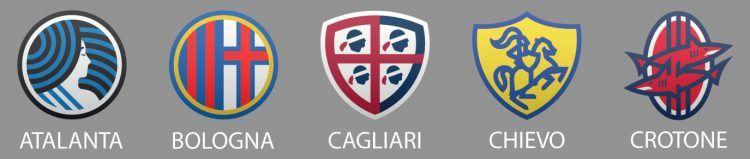 Loghi Atalanta, Bologna, Cagliari, Chievo e Crotone di Fraser Davidson