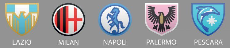 Lazio, Milan, Napoli, Palermo, Pescara, stemmi Davidson