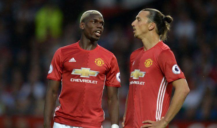 Pogba e Ibrahimovic con la maglia del Manchester United