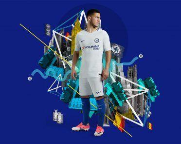 Hazard con la divisa da trasferta del Chelsea