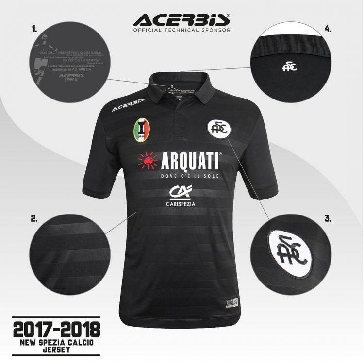 Seconda maglia Spezia nera 2017-2018