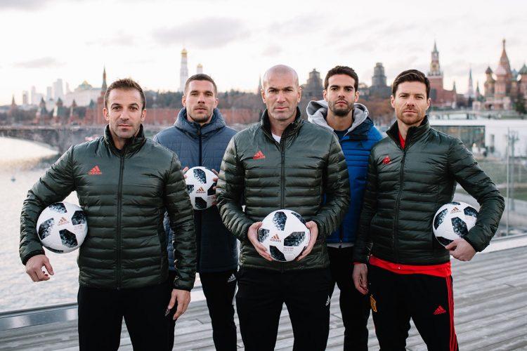 Zidane, Del Piero, Podolski, Xabi Alonso e Kakà, presentazione pallone Telstar