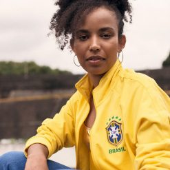 Felpa zip gialla Brasile Nike 2018