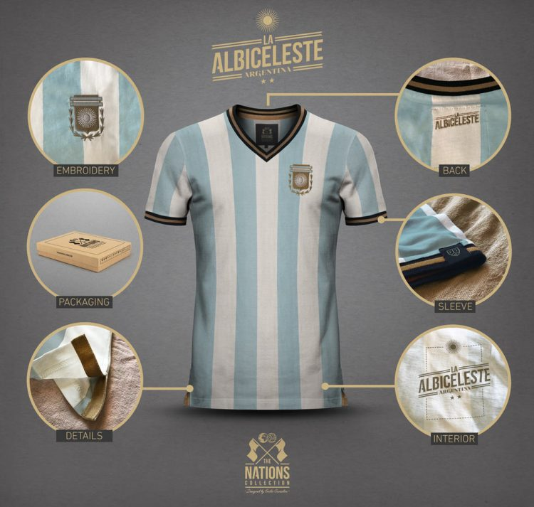Dettagli maglia Argentina Vintage Football Town
