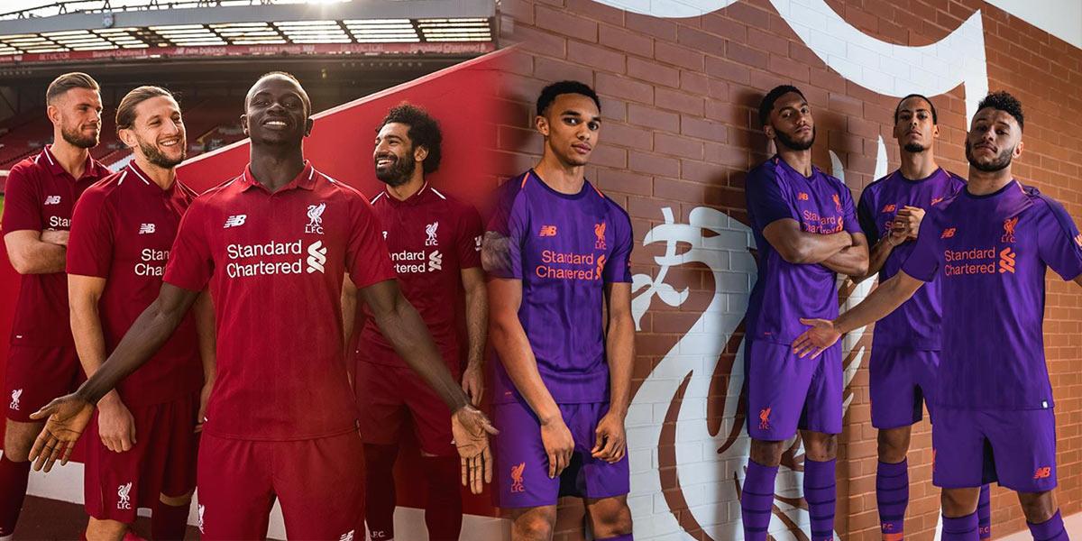 Maglia Liverpool 2018-2019, rosso e bianco classico per New Balance