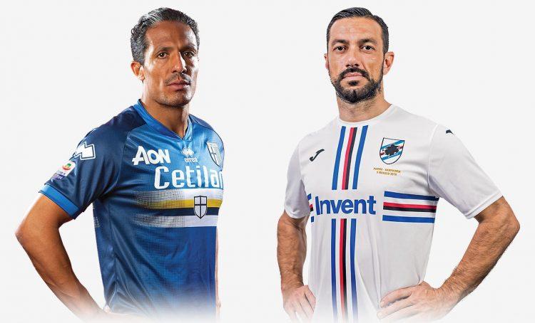 Bruno Alves e Quagliarella con le maglie speciali di Parma e Sampdoria