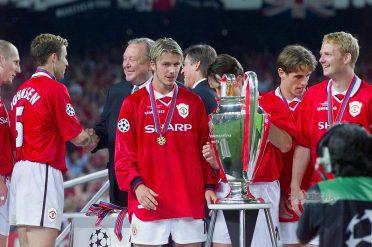 Beckham con la Champions vinta nel 1999