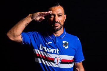 Quagliarella con la nuova maglia della Sampdoria