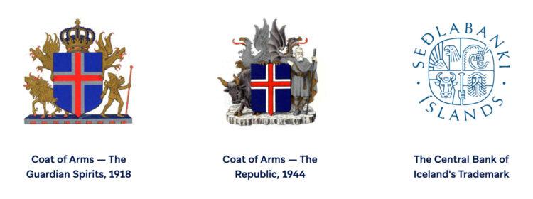 Islanda stemma nazionale e della Banca Centrale