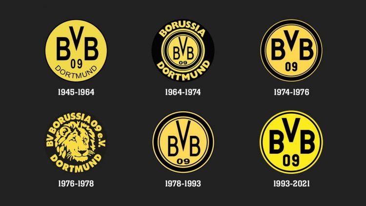 I loghi del Borussia Dortmund dal 1945 al 2021