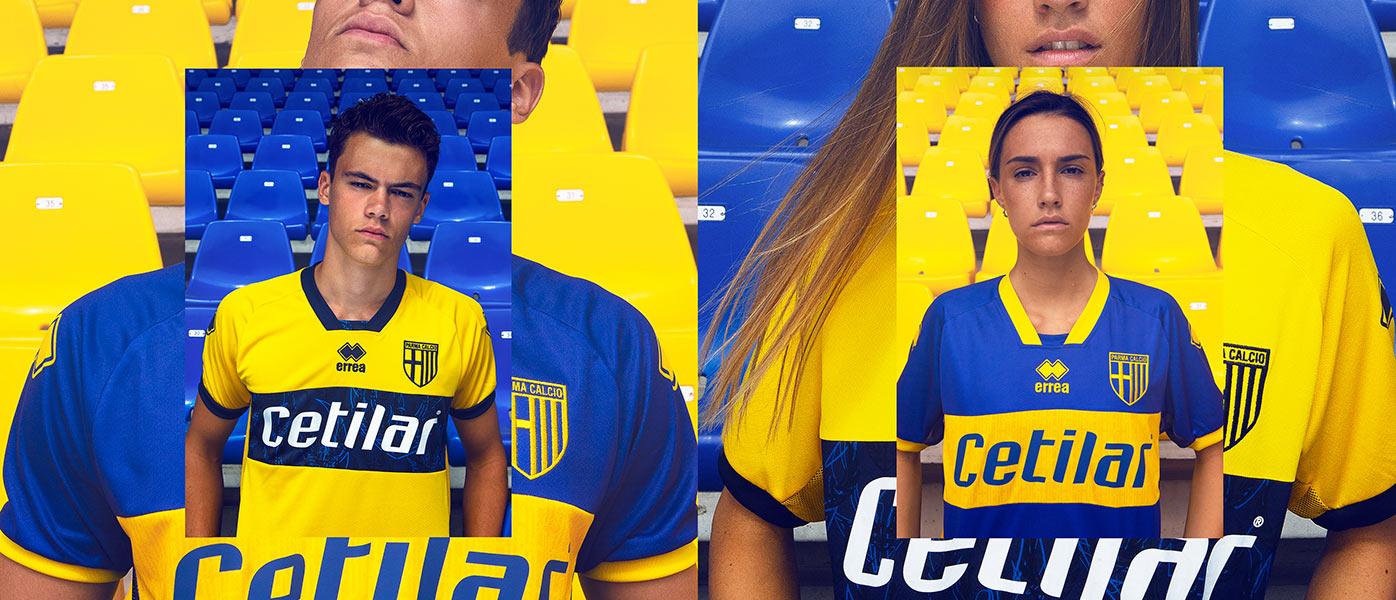 Maglie Parma trasferta in giallo e blu
