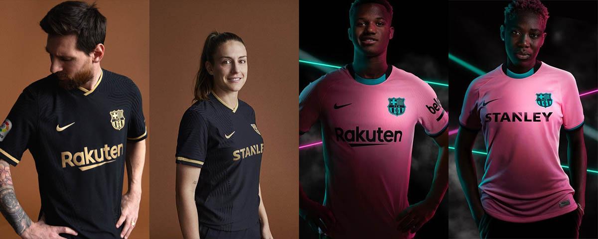 Seconda e terza maglia Barcellona 2020-2021, nero, oro e rosa!