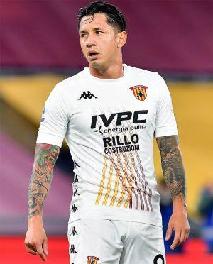 Lapadula maglia Benevento bianca trasferta