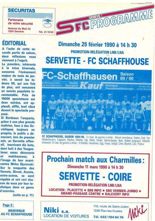 matchday programm servette - sciaffusa 4-0 25.02.1990