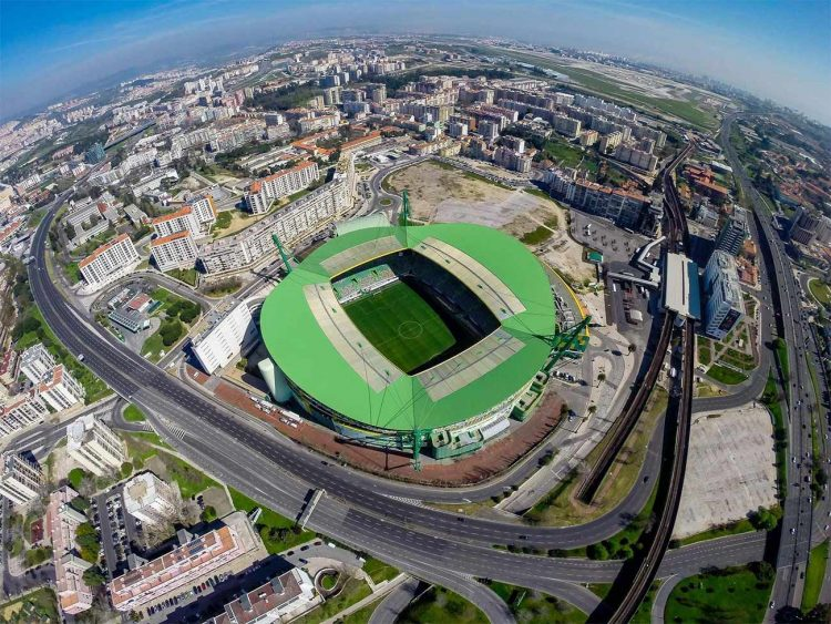 Vista aerea stadio Sporting Lisbona