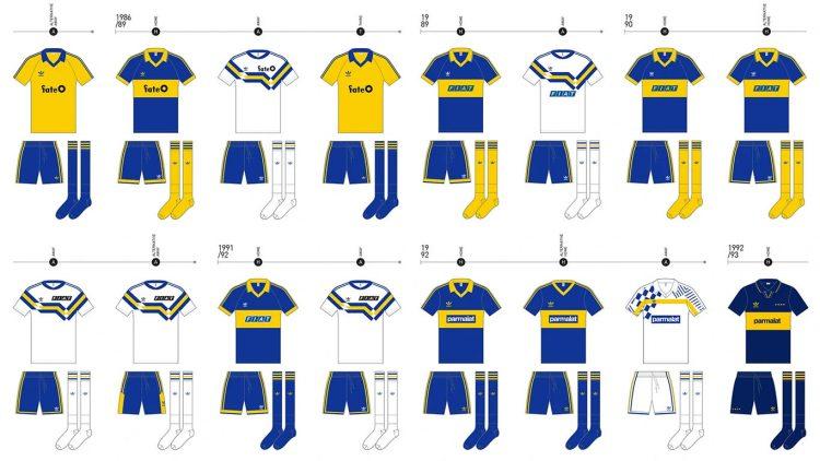 Le maglie del Boca Juniors dal 1986 al 1993