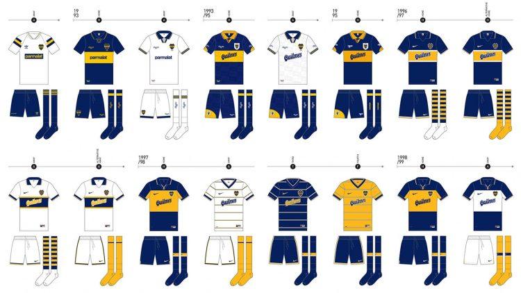 Le maglie del Boca Juniors dal 1993 al 1999