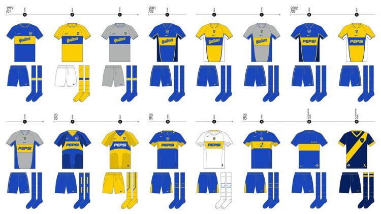 Le maglie del Boca Juniors dal 1999 al 2005