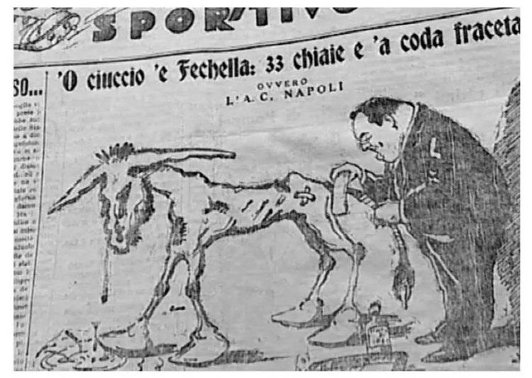 Vignetta satirica ciuccio Napoli