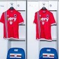 La terza maglia della Sampdoria rossa 2021-22
