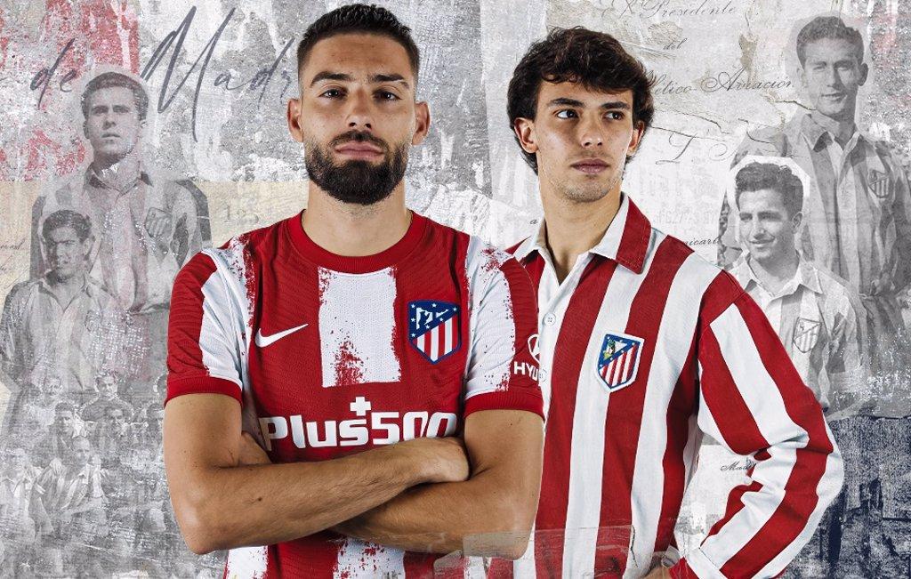 Maglie Atletico Madrid 2021-2022 con l'omaggio agli ultimi 75 anni