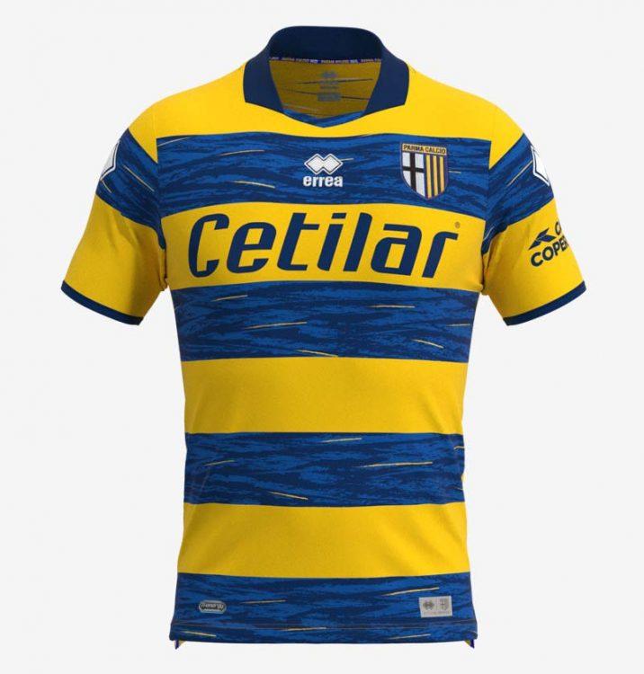 Seconda maglia Parma a righe orizzontali gialloblù